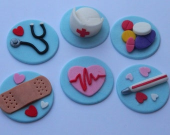 12 edible 3d NURSING CUPCAKE ICING toppers medical doctor nurse graduation cookie cake topper cupcake decoration wedding engagement birthday