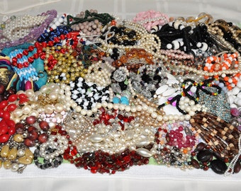 Vintage Jewelry Repurpose Craft Lot Jewelry Making Beads Broken Necklaces Bracelets Costume Jewelry Some Signed Pounds of Jewelry