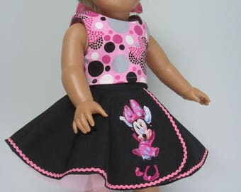 "AMERICAN GIRL  Retro Circle Skirt and Top for 18"" Doll"