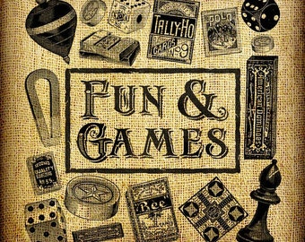 Fun and Games Game Night Vintage Digital Image Transfer Download 300 dpi for Pillows Totes Bags Napkins Towels