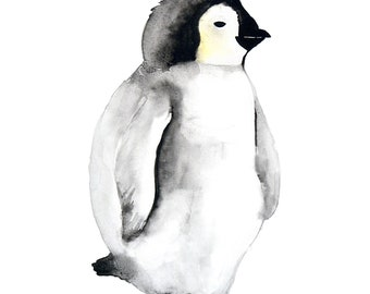 Baby Penguin Fine Artprint, art print, by original watercolor