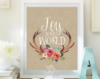 Christmas wall art printable winter decor holiday art decoration print Christmas print holiday art decor joy to the world print id108-109