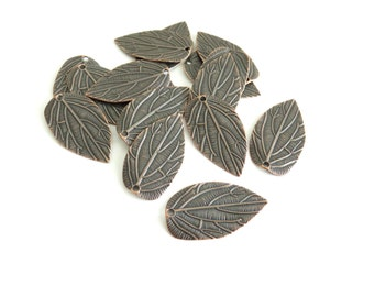 50 Pcs - Red Copper Leaf Pendants / Charms - 35mm long, 20mm wide (Lead and Cadmium Free)