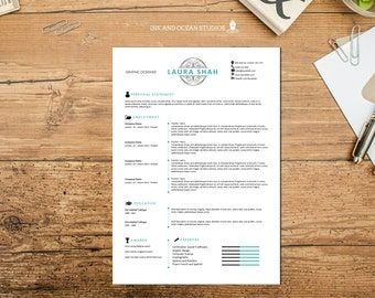 Slick, elegant Resume / CV design with cover letter and reference page - WORD FORMAT - Black and jade