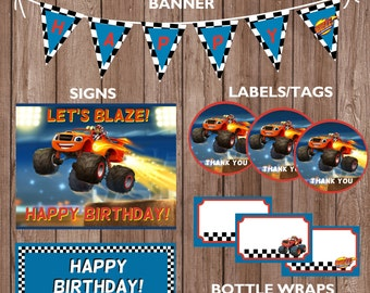 Blaze and the Monster Machines Theme Birthday Party Package-INSTANT DIGITAL DOWNLOAD