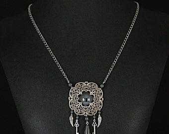 Stunning Steampunk Victorian filigree, keys, wings and hematite long necklace by Sylvan Creations.