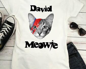 DAVID MEOWIE - Bowie parody, fan art, music t-shirt, rock legends, cat t shirt