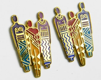 Laurel Burch, earrings, tribe, enamel, cloisonne, post, gold, teal, blue, purple, red, black, orange, pierced earrings, free shipping