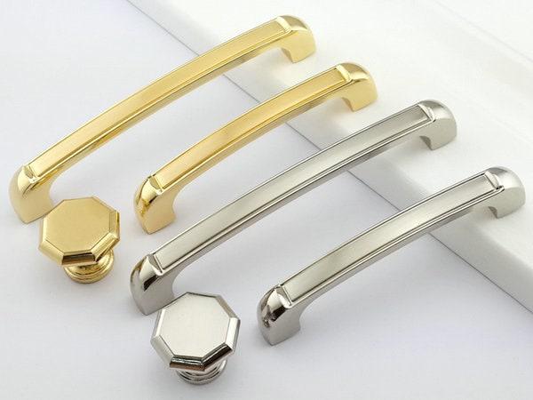 96 128 mm gold silber m bel griffe griff kn ufe knauf k che. Black Bedroom Furniture Sets. Home Design Ideas