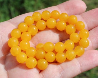4 beads Opal Mexico round yellow 8 MM.