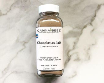 Chocolat au lait Facial Cleansing Powder; Smooth Daily Facial Cleanser; Organic Skin Care; Raw Cacao Cleanser; Activated Charcoal; Spirulina