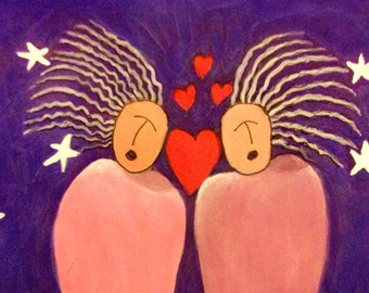 Universal Soul Sisters, ORIGINAL Gauche painting with ink