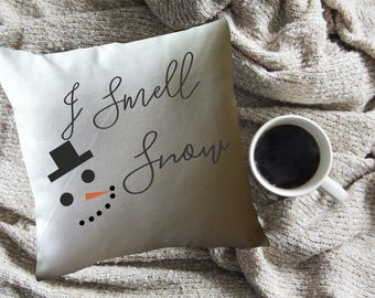 I smell snow decorative throw pillow cover/lorelai gilmore quote/ gilmore girls fan gift