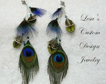 Long Peacock Feather Earrings with Sterling silver chain
