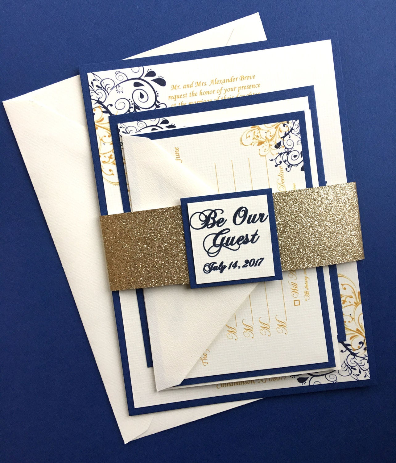 Beauty and The Beast Themed Wedding Invitations Sapphire Blue and Gold