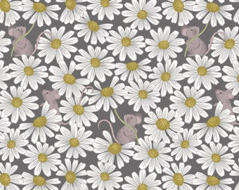 Love Me Love Me Not A271.3 - Little mouse & daisies on charcoal Lewis and Irene Patchwork Quilting Fabric