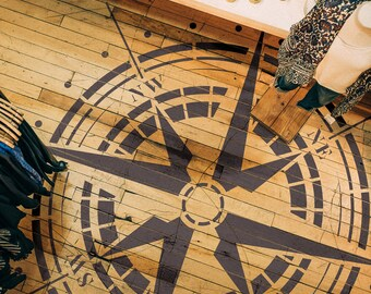 Traveler- Compass Rose Stencil - Reusable Stencil For Painting - Wall and Floor Stencil