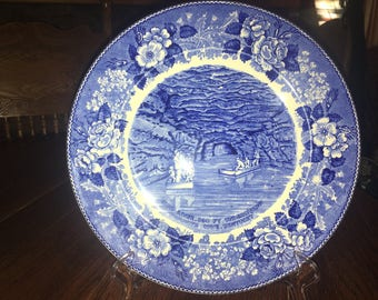 Vintage Echo  River Mammoth Cave Kentucky Souvenir Blue And White Plate Staffordshire - Adams