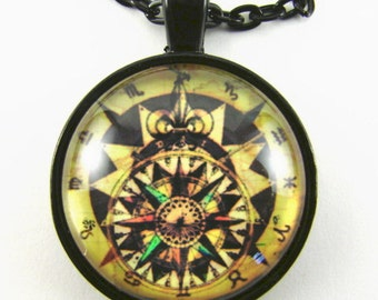 Men's STEAMPUNK ZODIAC COMPASS Necklace -- Finding your way among the stars, Compass rose in star burst surrounded by zodiac symbols,