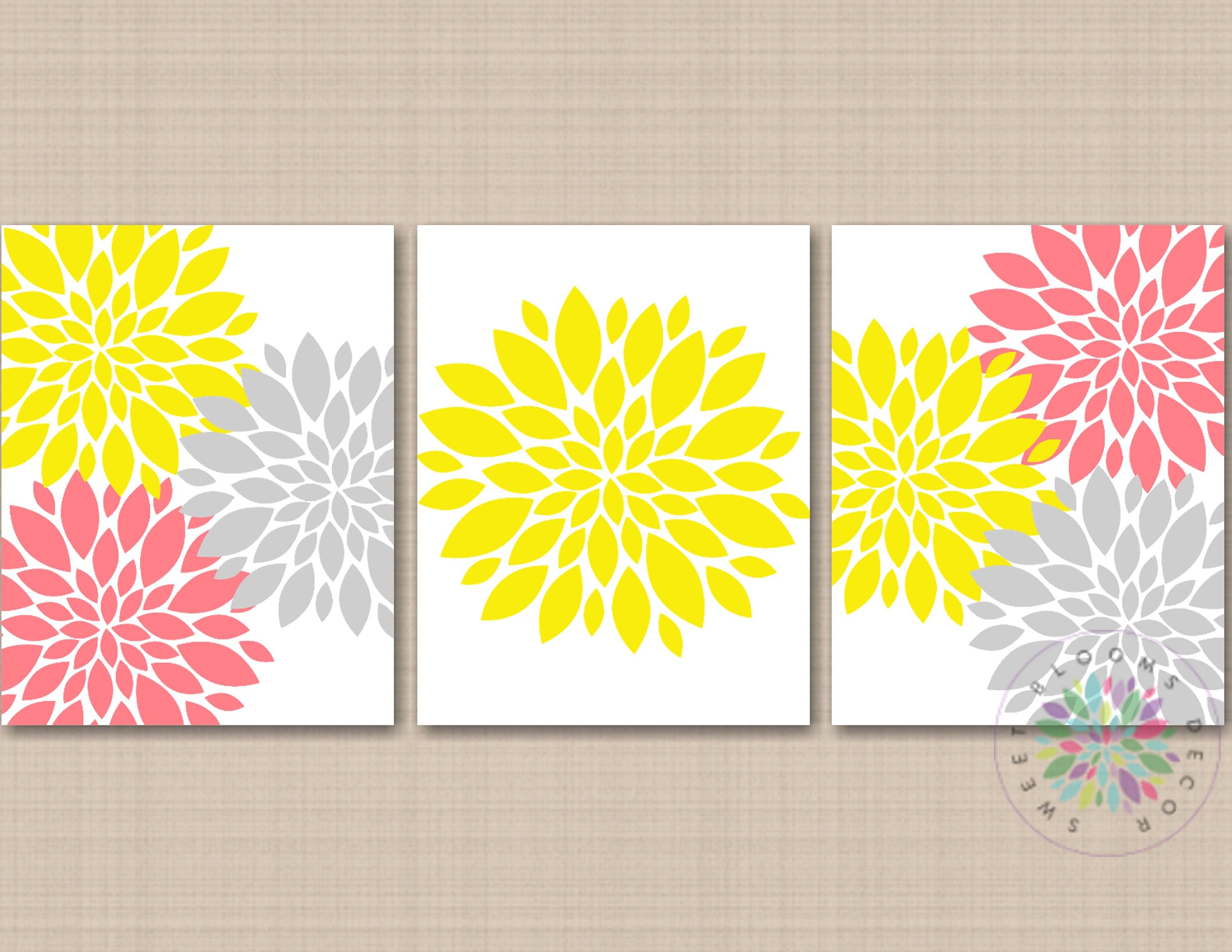 Yellow Gray Coral Pink Floral Wall Art Yellow Gray Coral Wall