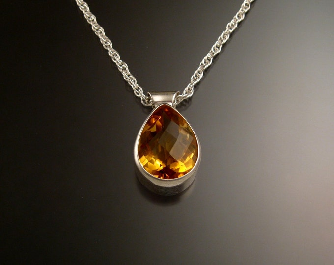Citrine adjustable length necklace handmade in Sterling silver with bezel set stone checkerboard cut pear shaped drop