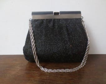 Vintage '60s HL Harry Levine Black Glittery Lurex Purse w/ Silver Rope Chain Handle