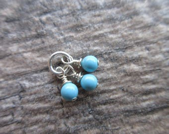 Swarovski Pearl dangles, 4mm round Turquoise crystal pearl charms wire wrap on jump ring earring dangles bridesmaid charms 3 dangles