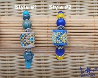 Ethnic bracelet Ukrainian jewelry embroidered bracelet gift for women lapis lazuli stone bracelet blue agate jewelry Ukrainian gift for girl