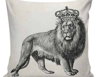 Novelty Pillow Cover Cotton Canvas Throw Pillow 18 inch square Lion with Crown UE-294 Urban Elliott