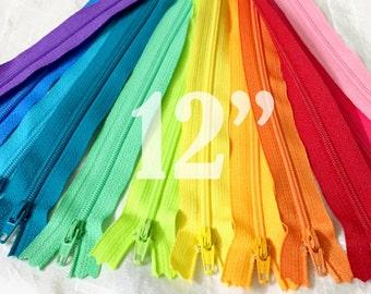 12 inch zippers ykk zippers assorted zippers nylon zippers colorful zippers 12 inch zips 12 ykk zips wholesale zippers - 12 pieces NYL12