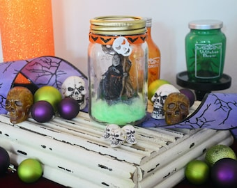 Mason Jar Decor, Halloween Diorama, Halloween Miniature, Halloween Table Decoration, Grim Reaper, Ready to Ship!