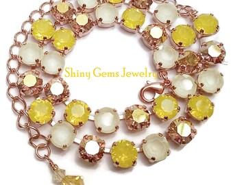 Cupchain Swarovski Crystal Necklace, Yellow Opal, Swarovski Jewelry, Tennis Necklace, Tennis Bracelet, Rose Gold, Crystal Necklace, Yellow