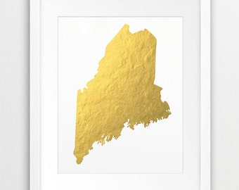 Maine State Map Printable Art, USA State Maine Gold Foil Texture, Gold State Print, Modern Wall Art, Home Office Decor, Instant Download Art