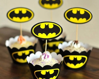BatMan Cupcake wrapper and topper, set of 24 , Cupcake wrapper, Cupcake Topper, Bat Man