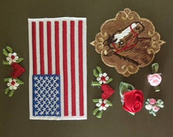 10 Cute Heart, Flower, Flag and  Horse Appliques
