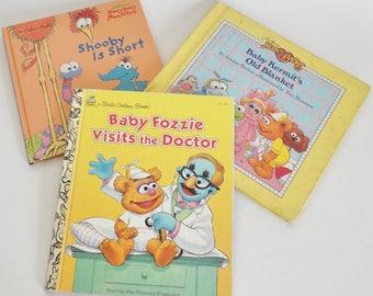 3 Vintage Muppet Babies Muppet Kids books - Kermit Fozzie Bear Gonzo Ms Piggy - 80s Jim Henson Childrens book Retro Cartoon Reading Gift