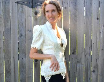 Baroque Lace Velvet Dress Vintage Victorian Black and White Bridal Chantilly Venetian Appliqué Jessica Scott McClintock Size 8 Evening Gown