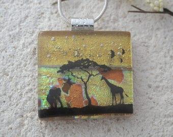 Elephant Giraffe Jungle, Glass Jewelry, Dichroic Pendant, Fused Glass Jewelry, Safari Necklace, OOAK Necklace, ccvalenzo, 090117p104