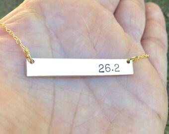 Bar Necklace , Running Necklace , Marathon Necklace, Marathon , Mom Necklace, Handmade Necklace, Hand Stamped Necklace