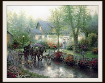 "Thomas Kinkade Book Print ""Sunday Outing"" (1993), Frameable Wall Art, Shabby Cottage Chic, Horse Buggy, Family, Nostalgia, Grey Green Pink"