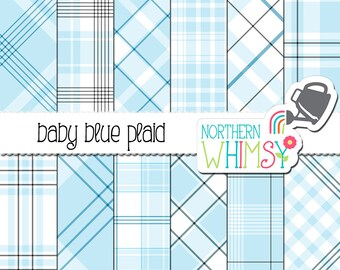 Pastel Blue Plaid Digital Paper - baby blue plaids for scrapbooking and graphic design - diagonal and seamless patterns - commercial use OK