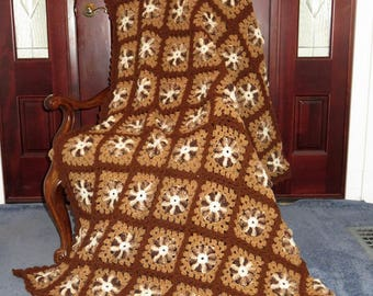 """Large Afghan Blanket - Warm Soft Browns Chocolate Caramel Vanilla - Bed Couch Recliner Dorm Room - 70""""x 58"""" - Hand Made in USA Item 4994"""