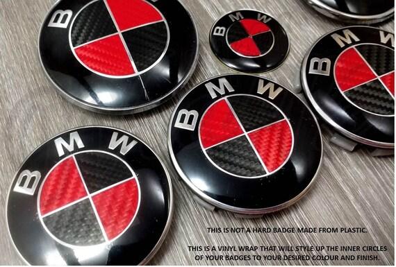 Black Red Carbon Fiber Bmw Badge Emblem Overlay Hood Trunk