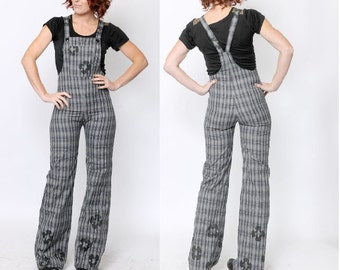 Grey womens overalls, Tight-fitting plaid patterned slacks with black paint, Black flowers, Grey tartan, Gray plaid overalls, MALAM