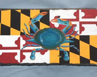 Chesapeake Bay Blue Crab and Maryland State Flag Hand Painted on a Vintage Roof Slate Shingle
