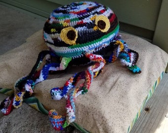 Scrapy the Scraptapus, crochet octopus monster, less waste, amigurumi, large octopus, kid present, toddler toy, stuffed animal, aquatic