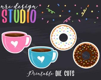 SALE Planner Die Cuts Printable, Coffee Die Cuts, Donut Die Cuts, Food Die Cuts, Scrapbook Die Cuts, Planner Accessories - Office