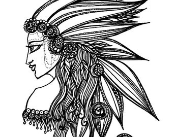 Giclée Art Print: Pen and Ink, 8 x 9 in