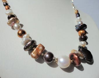 multi pearl necklace 14k gold filled gift for her