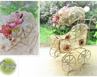 "Miniature BABY BUGGY - Glitter Miniature PRAM Carriage - Dollhouse Buggy Fairy Garden Floral Dollhouse Miniature 1"" Scale 1:12 Fancy Pram"